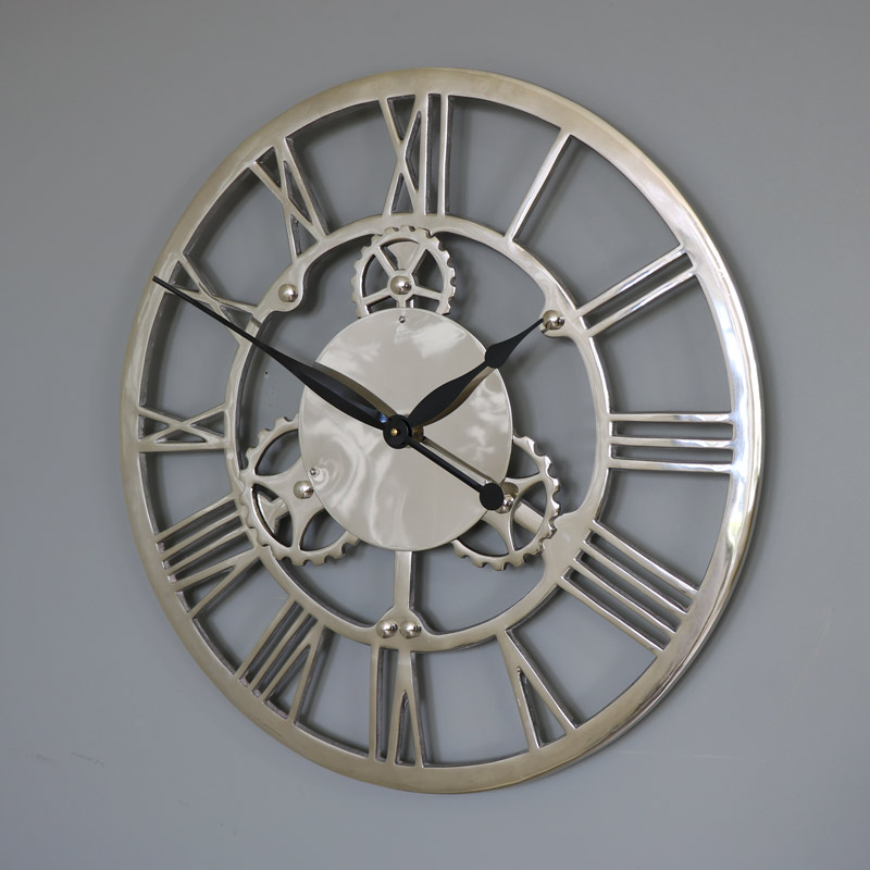 rustic bathroom ideas pictures large silver nickel cog skeleton wall clock browne 20264