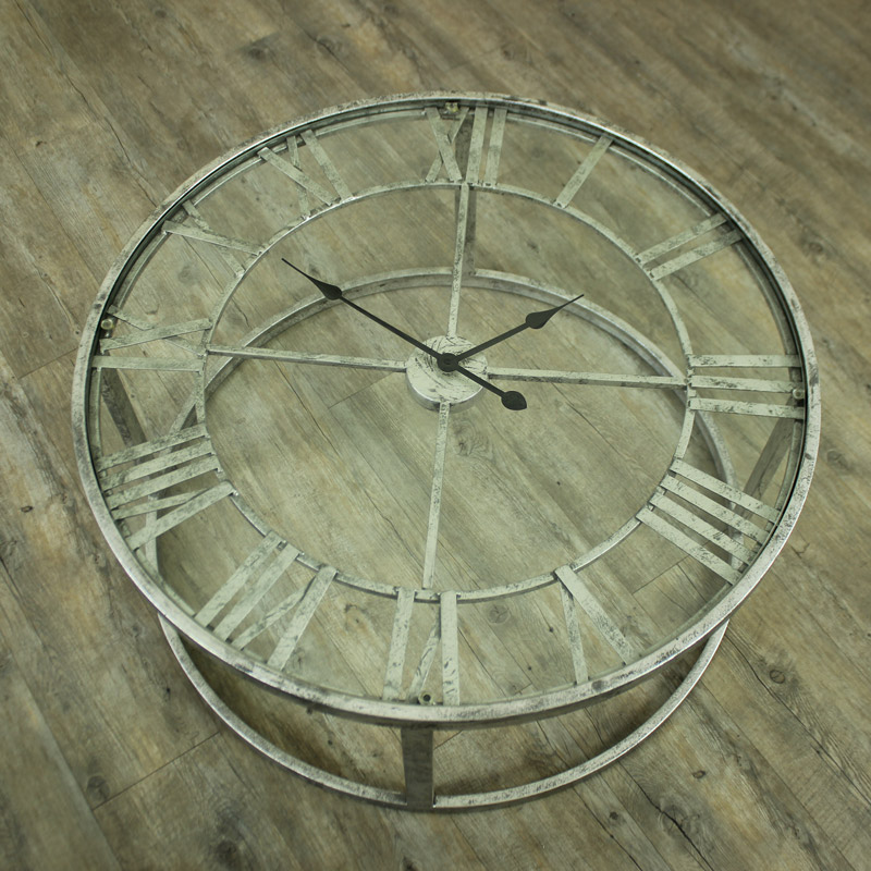 Large Round Silver Skeleton Clock Table Windsor Browne
