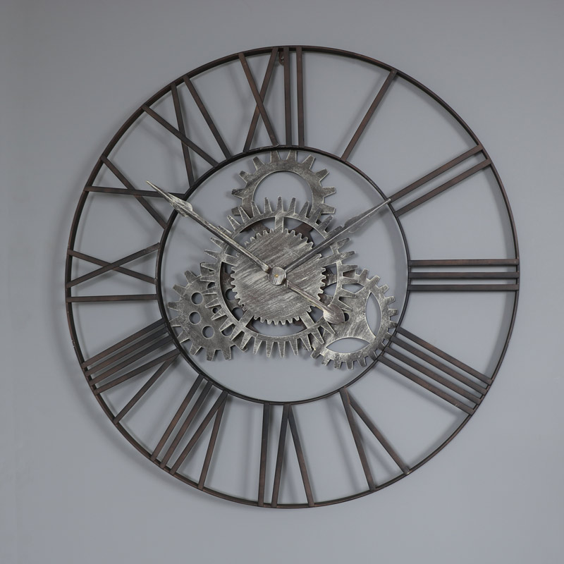 Large Metal Skeleton Cog Wall Clock With Roman Numerals