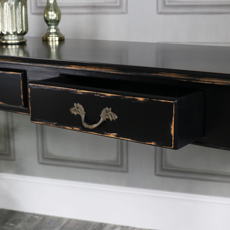 ... Large Black Vintage 3 Drawer Console Hall Table   Pierre Range ...