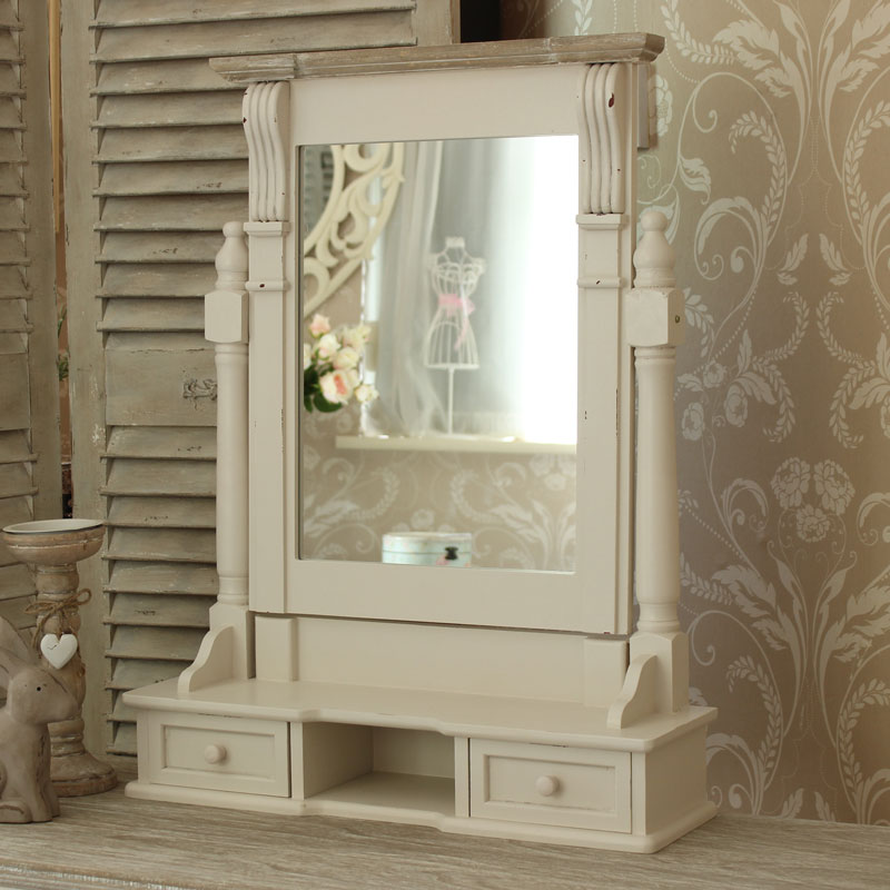 Cream Dressing Table, Mirror and Stool Dresser Set - Lyon Range ...