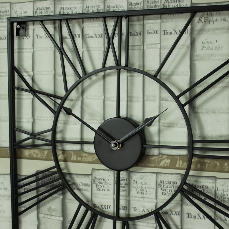 Large Black Iron Square Skeleton Wall Clock Windsor Browne