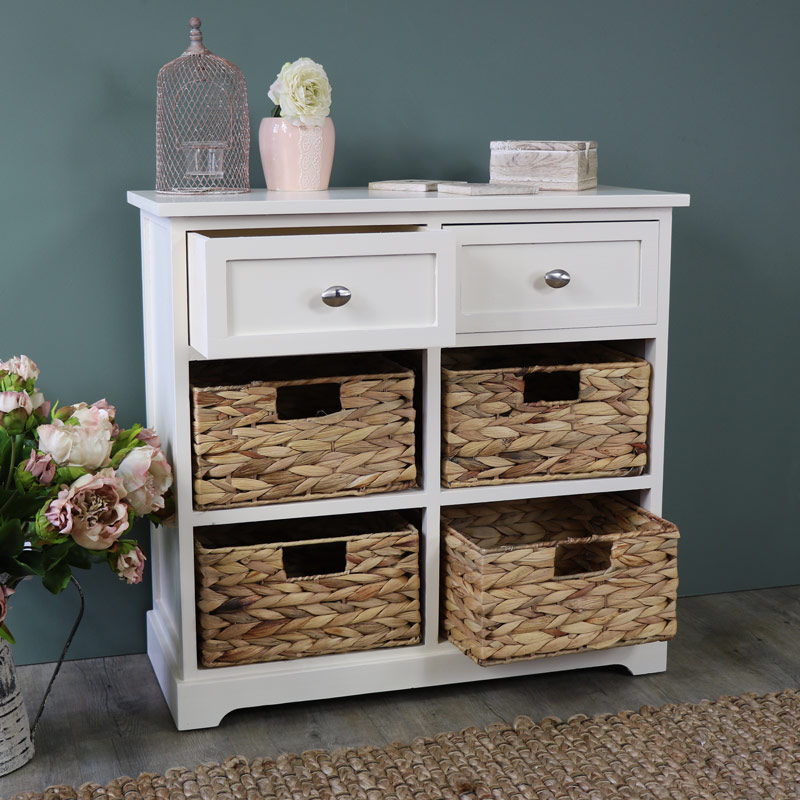 Buy Wicker Storage Basket Kitchen Drawer Style From The: Cream Wood & Wicker 6 Drawer Basket Storage Unit