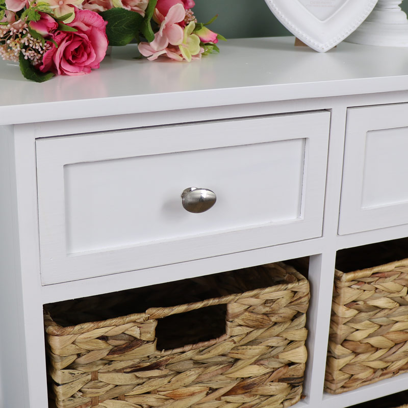 Buy Wicker Storage Basket Kitchen Drawer Style From The: White Wood & Wicker 6 Drawer Basket Storage Unit