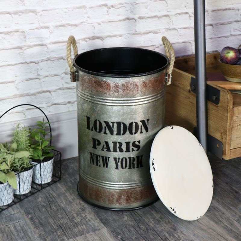 small industrial metal storage bin with lid windsor browne. Black Bedroom Furniture Sets. Home Design Ideas