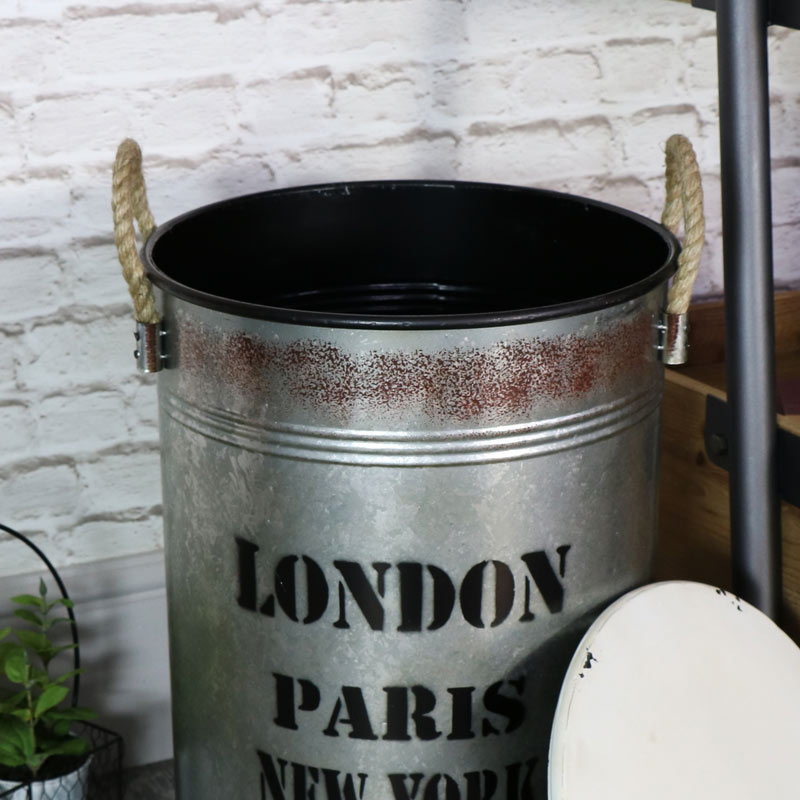 industrial metal storage bin with lid windsor browne. Black Bedroom Furniture Sets. Home Design Ideas