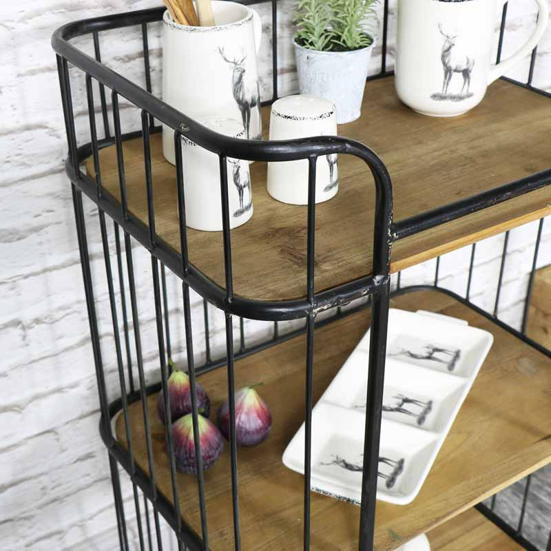 Rustic Industrial Style Trolley With Shelves Windsor Browne