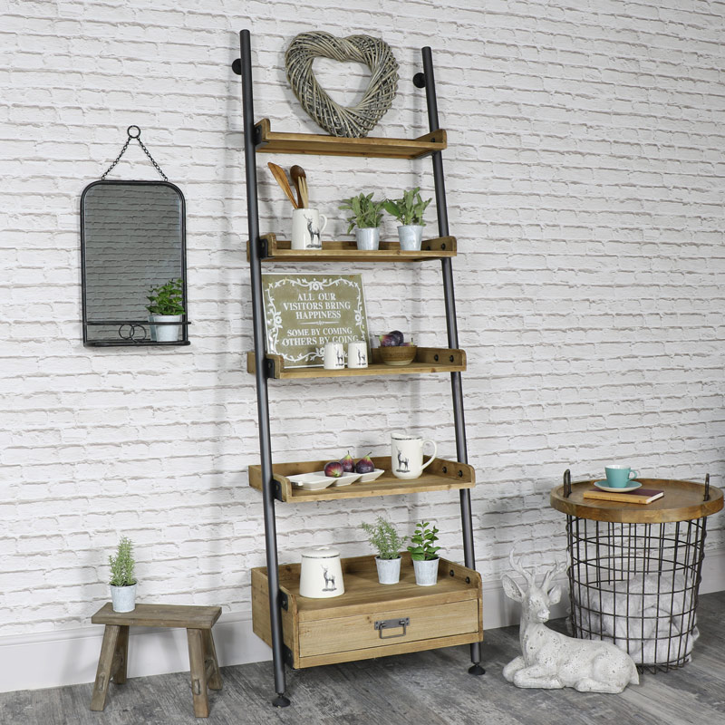 Very best Industrial Ladder Style 5 Shelf Display Unit with 1 Drawer Storage  MG62