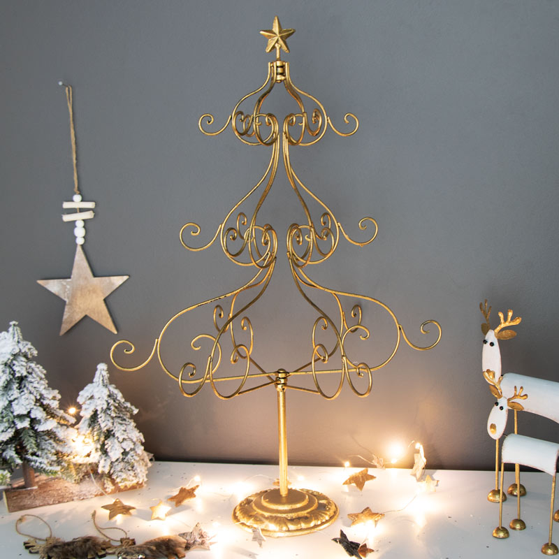 Metal Christmas Tree.Tall Gold Metal Christmas Tree