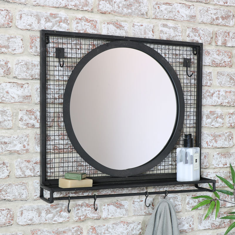 Black Wall Mirror With Shelf Hooks 52cm X 46cm Windsor Browne