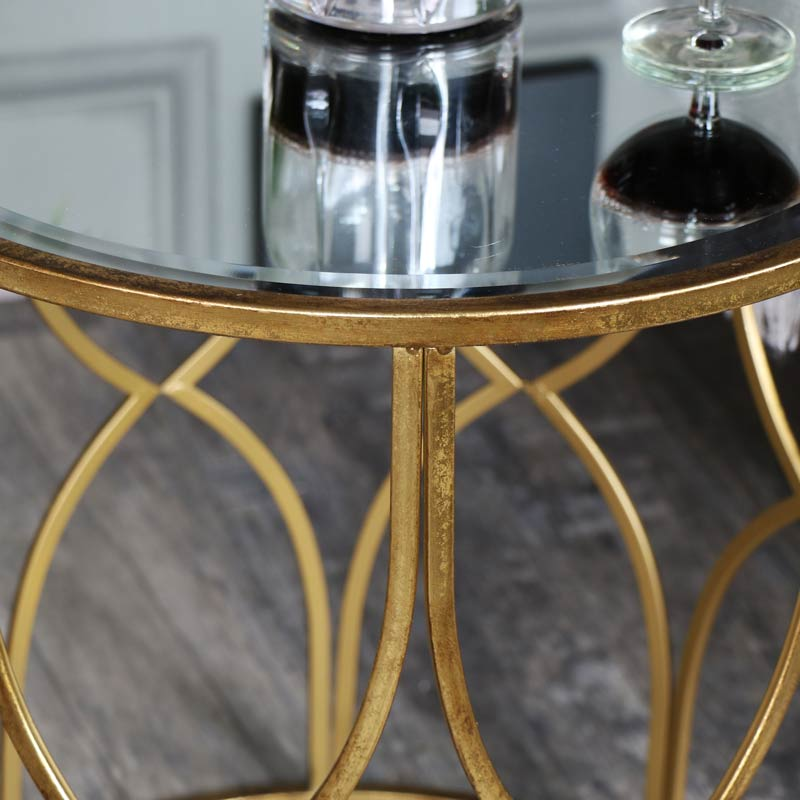 gold ornate browne small table windsor side mirrored