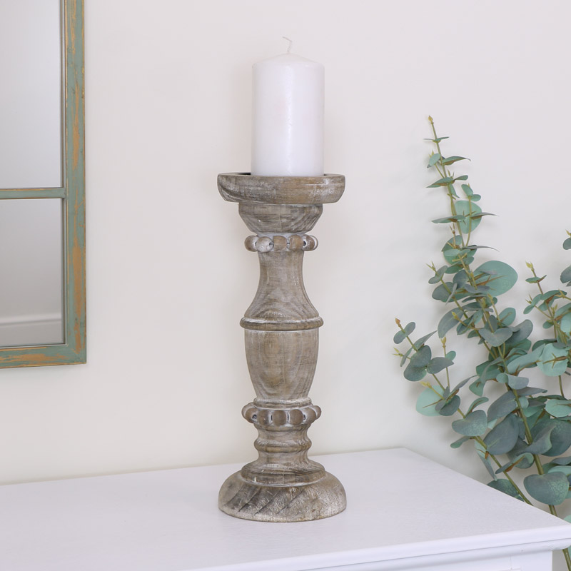 Tall Rustic Wooden Candle Holder