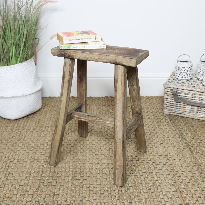 Tall Rustic Wooden Stool