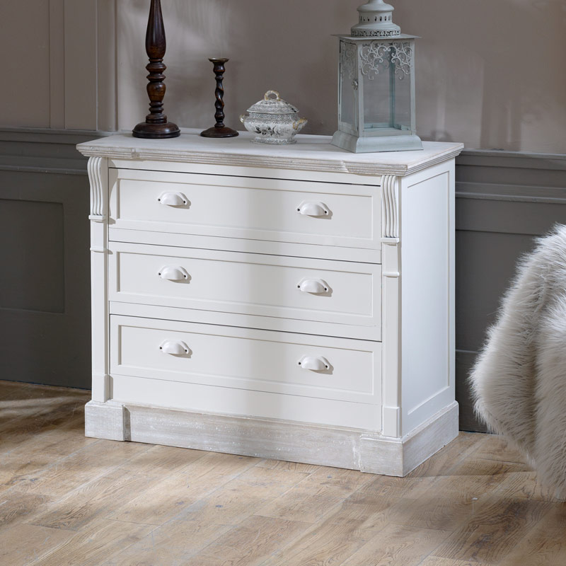 Lyon Range - Cream Three Drawer Chest of Drawers