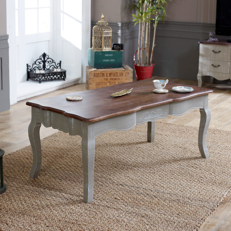 Grey Coffee Table with Dark Wood Top - French Grey Range