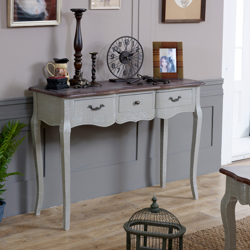 Large Grey 3 Drawer Console Table - French Grey Range