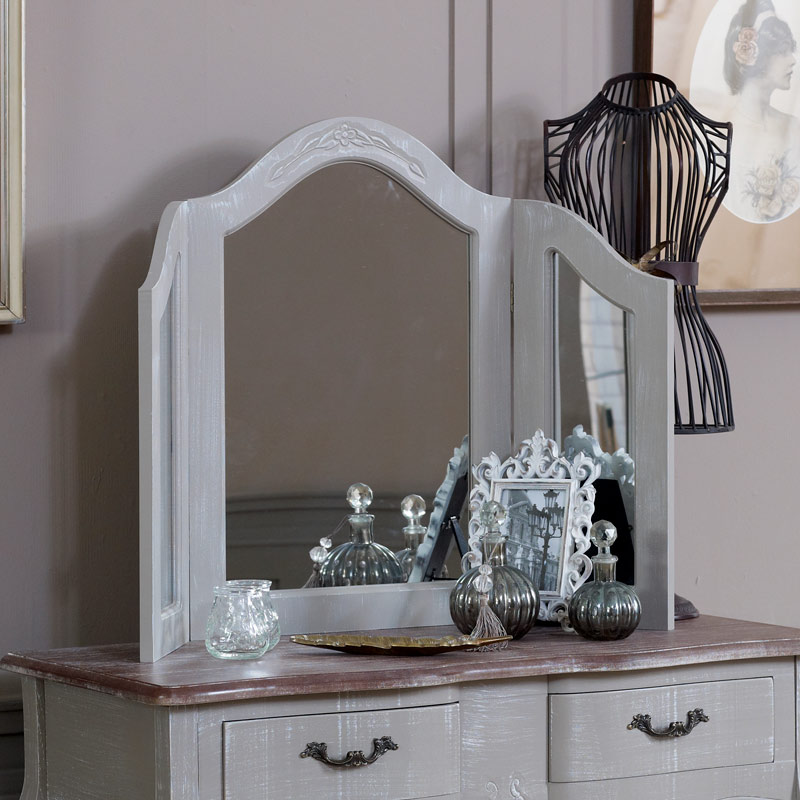 Ornate Grey Freestanding Triple Dressing Table Vanity Mirror - French Grey Range 42cm x 59cm