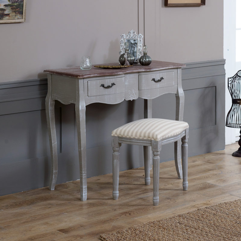 French Grey Range - Two Drawer Dressing Table with Stool