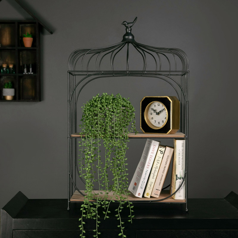 Black Metal Birdcage Display Shelf