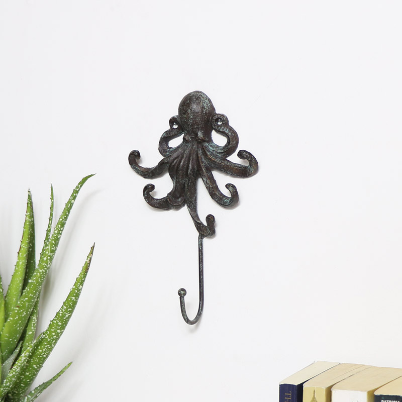 Rustic Brown Octopus Wall Hook