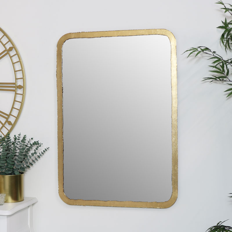 Rustic Thin Framed Gold Mirror