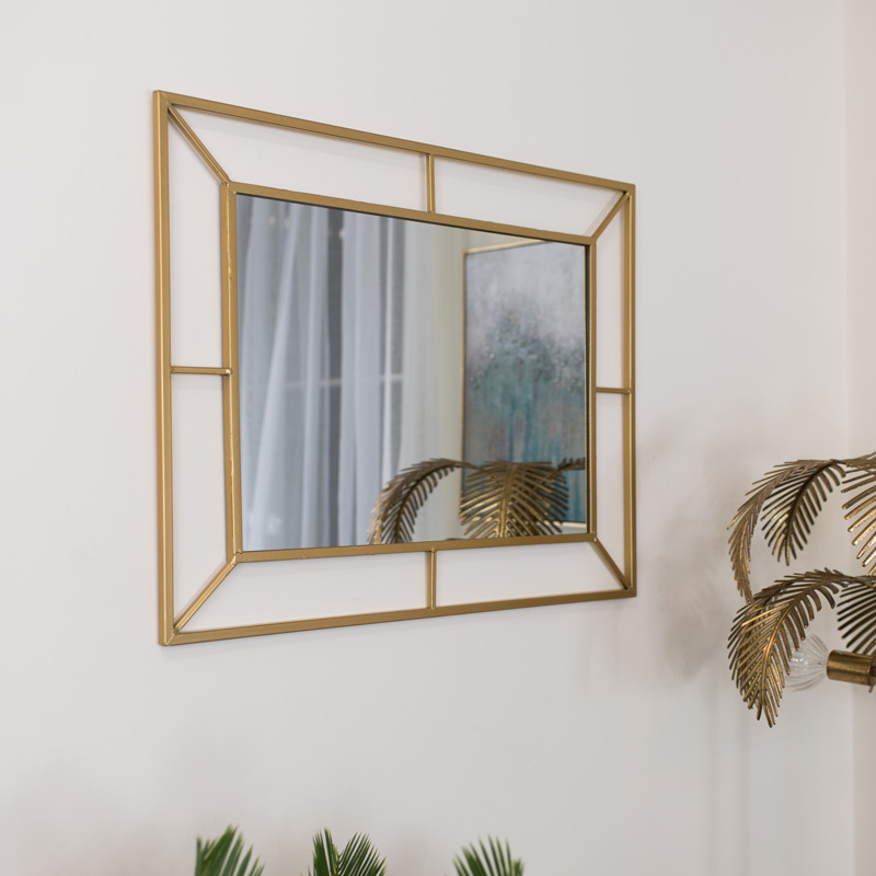 Gold Rectangle Wall Mirror 62cm x 80cm