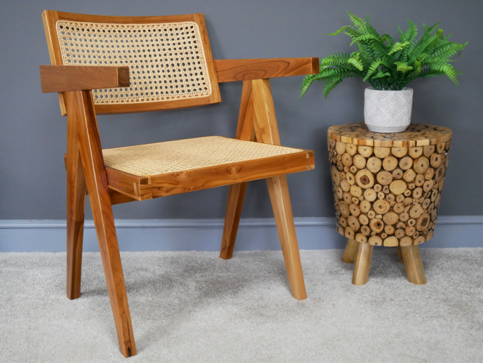 Brown Teak Wood & Rattan Chair