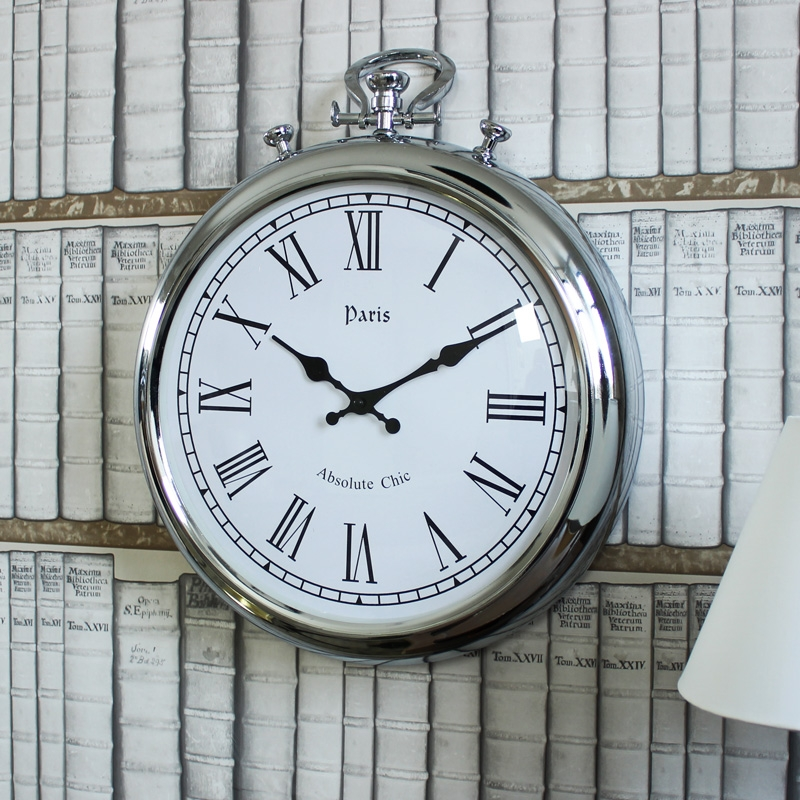 Silver Metal Stopwatch Style Wall Clock