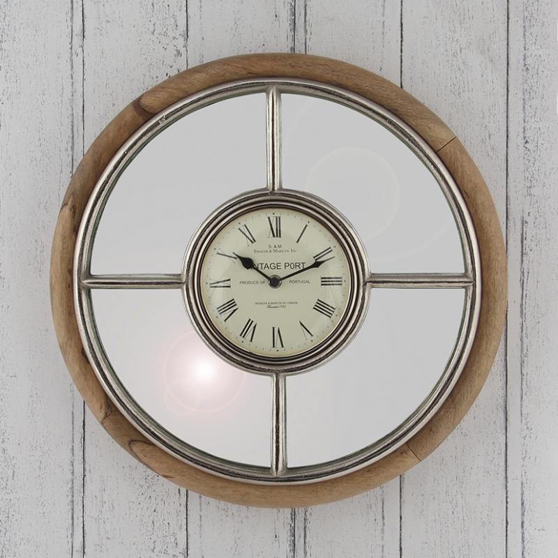 Nickel & Mango Wooden Wall Clock