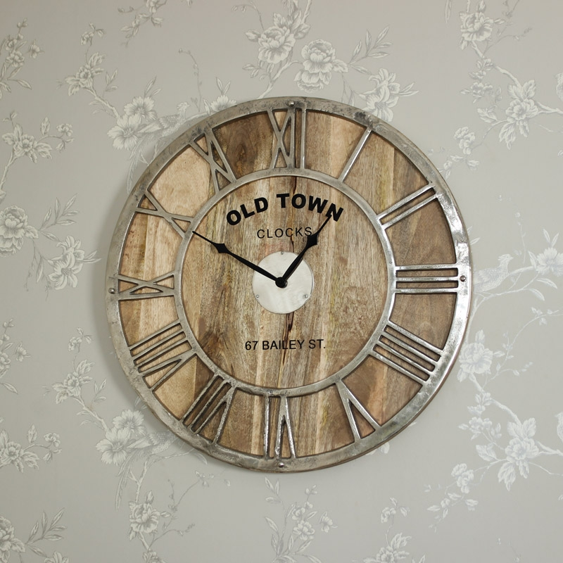 Silver Nickel and Mango Wood Skeleton Clock