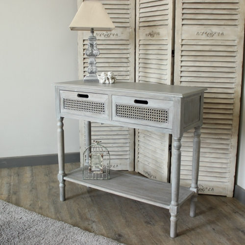 Milan Range - Grey 2 Drawer Console Table