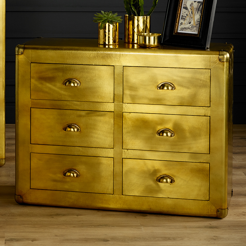 Quinton Range - Brass Six Drawer Chest of Drawers