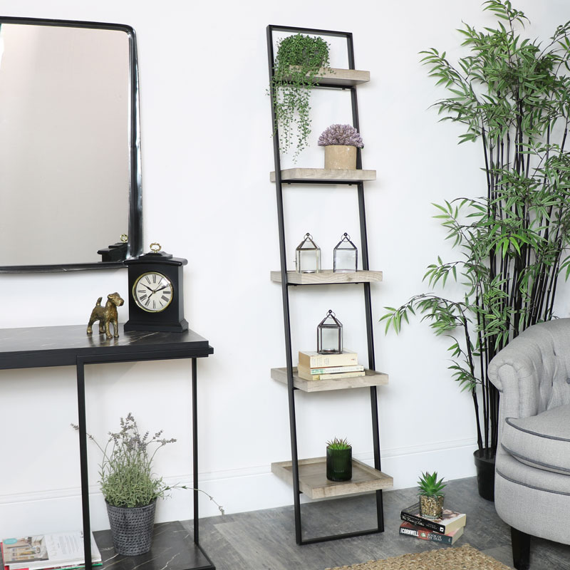 Black Metal & Wood Ladder Shelving Unit