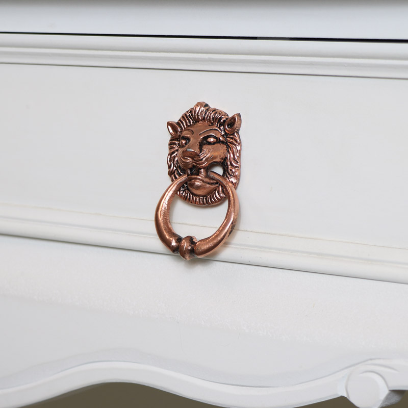 Pair of Copper Lion Head Drawer Knobs
