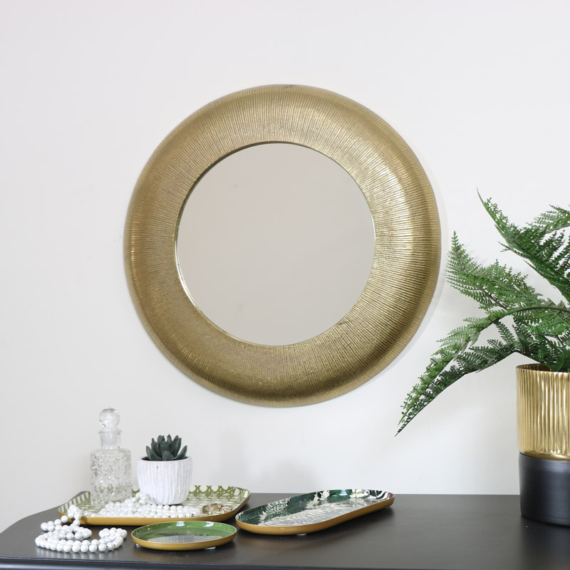 Large Gold Curved Wall Mirror 45cm x 45cm