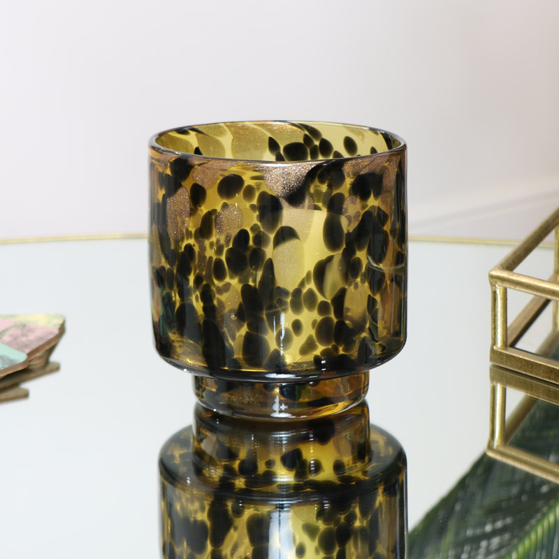 Leopard Print Glass Candle Holder