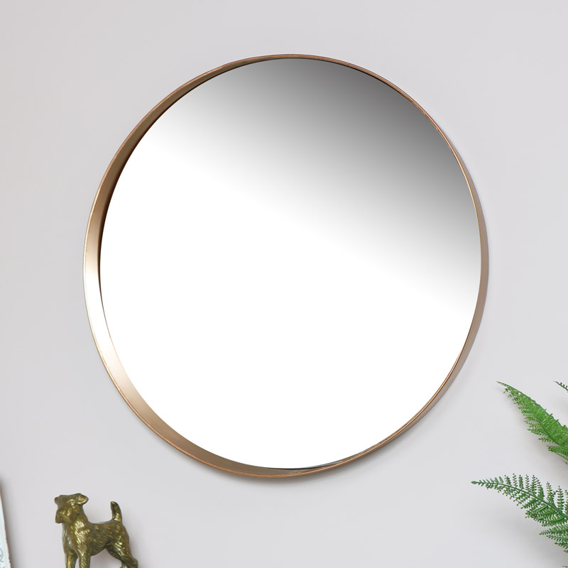 Round Copper Wall Mirror 61cm x 61cm
