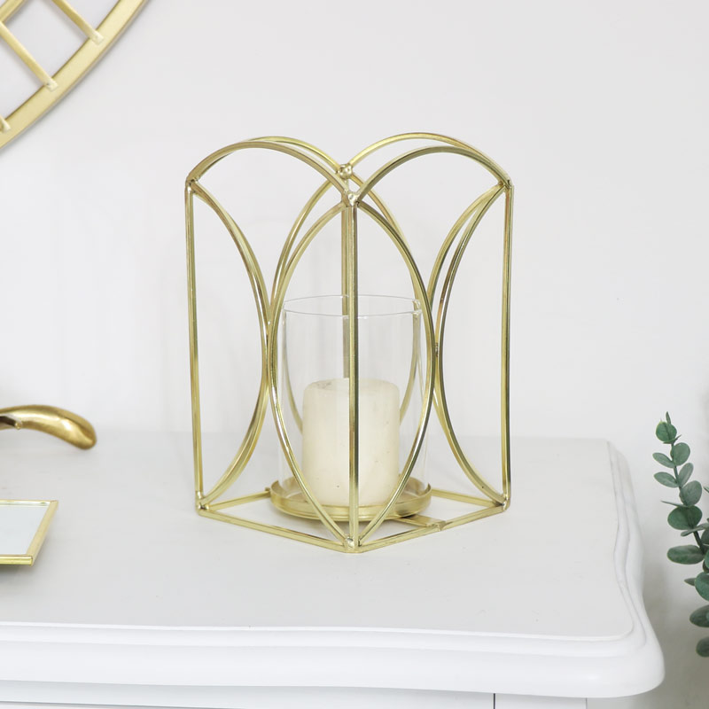 Large Gold Metal Candle Holder