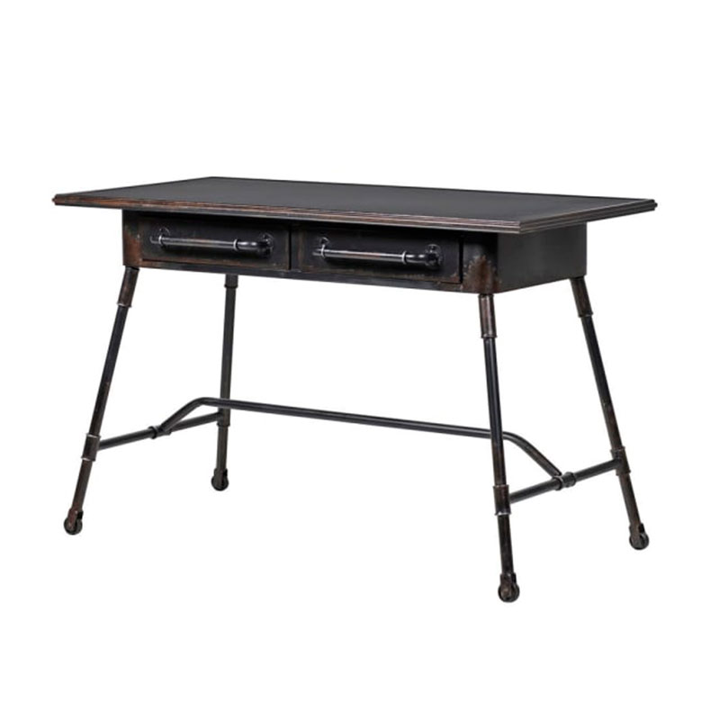 Vintage Black Iron Metal Desk