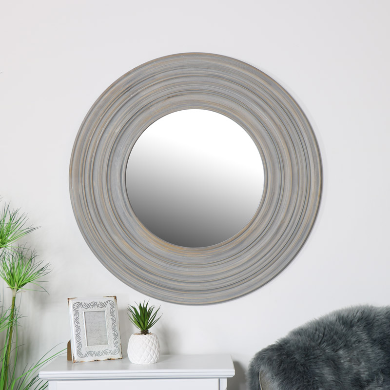 Round Grey Wall Mirror 90cm x 90cm