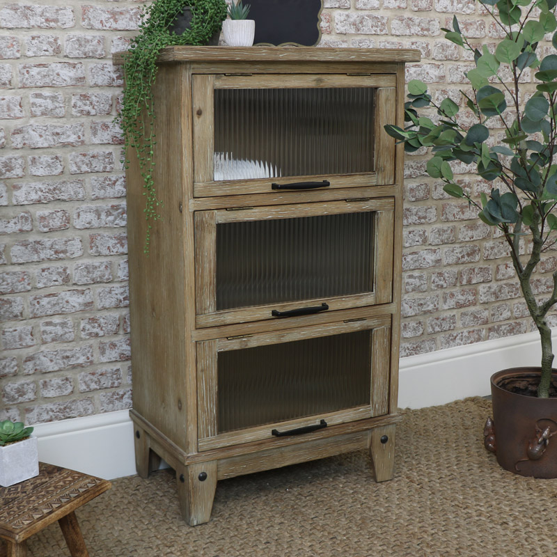 Tall Rustic Wooden Reeded Glass Cabinet