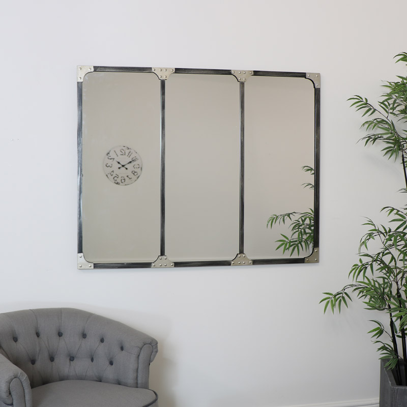 Industrial 3 Panelled Wall Mirror