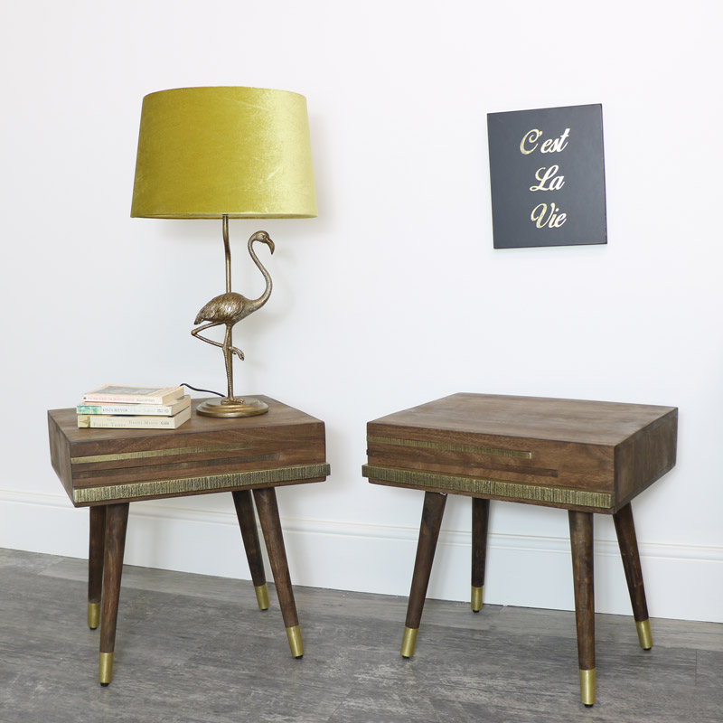 Pair of Mid Century Wooden Bedsides