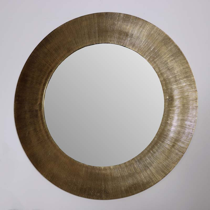 Large Round Gold Deco Grooved Mirror