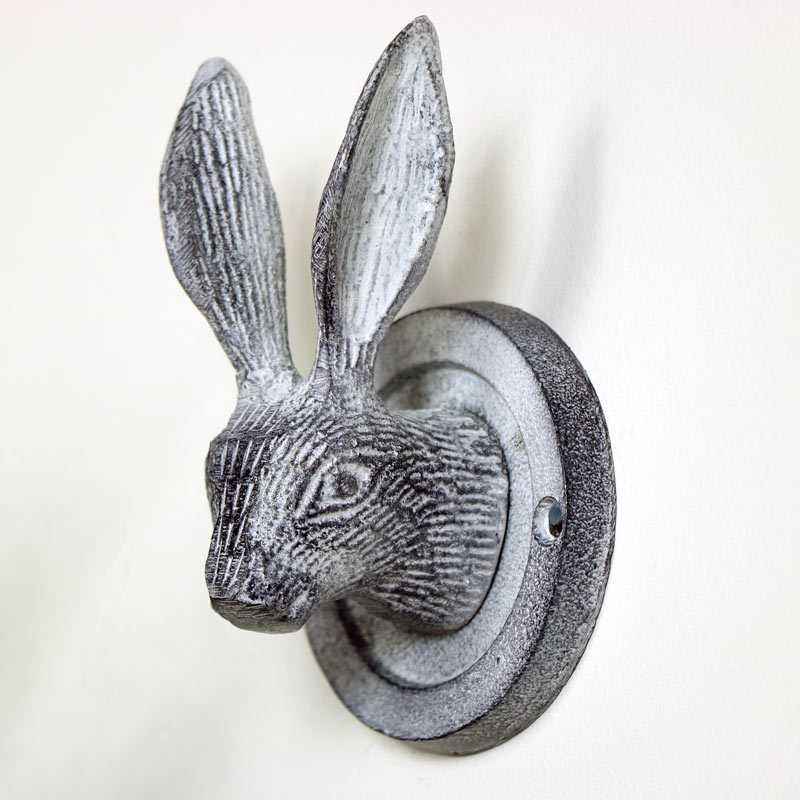 Grey Hare Head Coat Hook