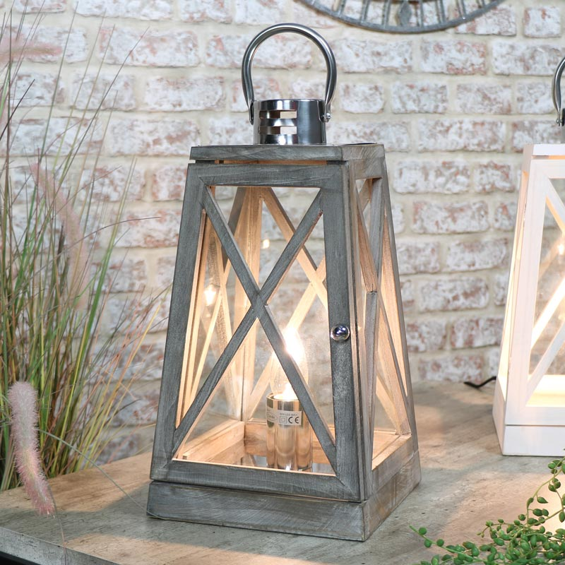 Grey Wooden Lantern Style Table Lamp