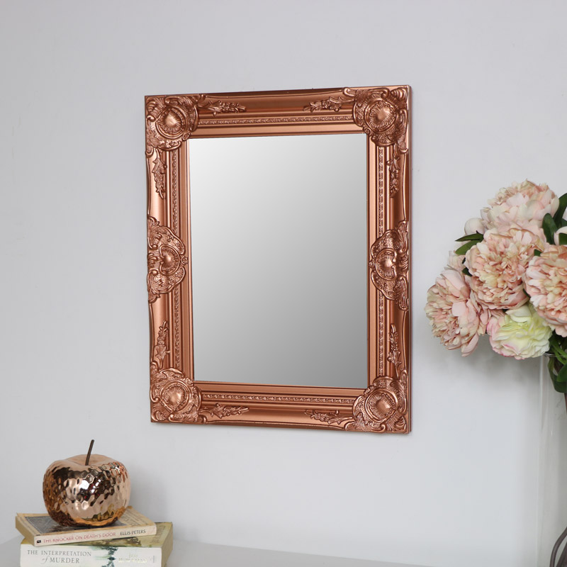 Ornate Copper Wall Mirror 42cm x 52cm