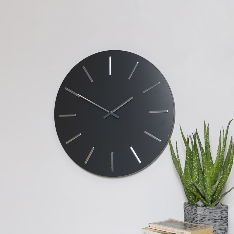 Round Grey & Silver Wall Clock