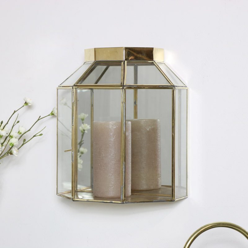 Gold Mirrored Glass Wall Candle Lantern