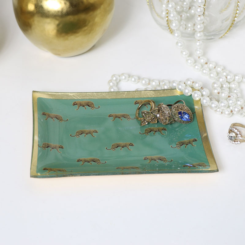 Green Leopard Print Glass Trinket Tray
